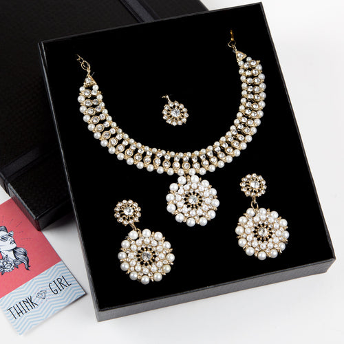 White Pearls Formal Necklace and Earrings Set