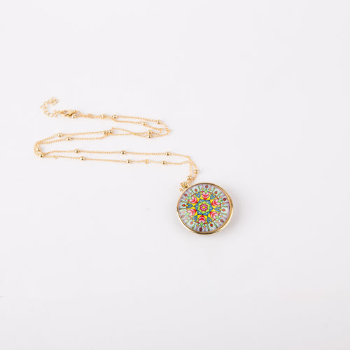 Euro Printed Pendant Necklace