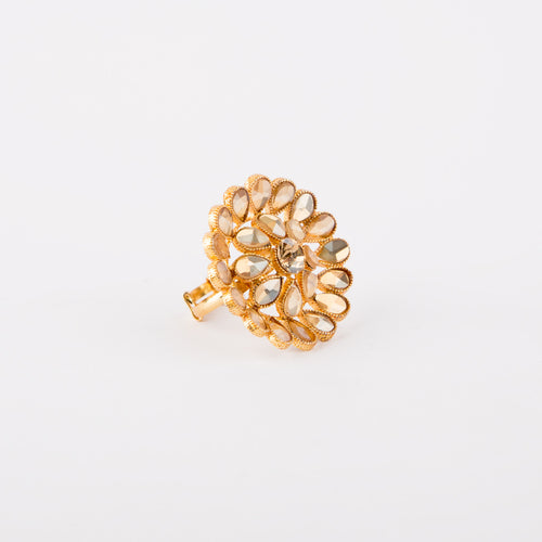 Flower Kundan Ring (Champagne)