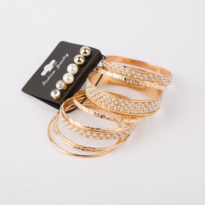 One-Sized Bangles and Ear Studs Set (Gold)