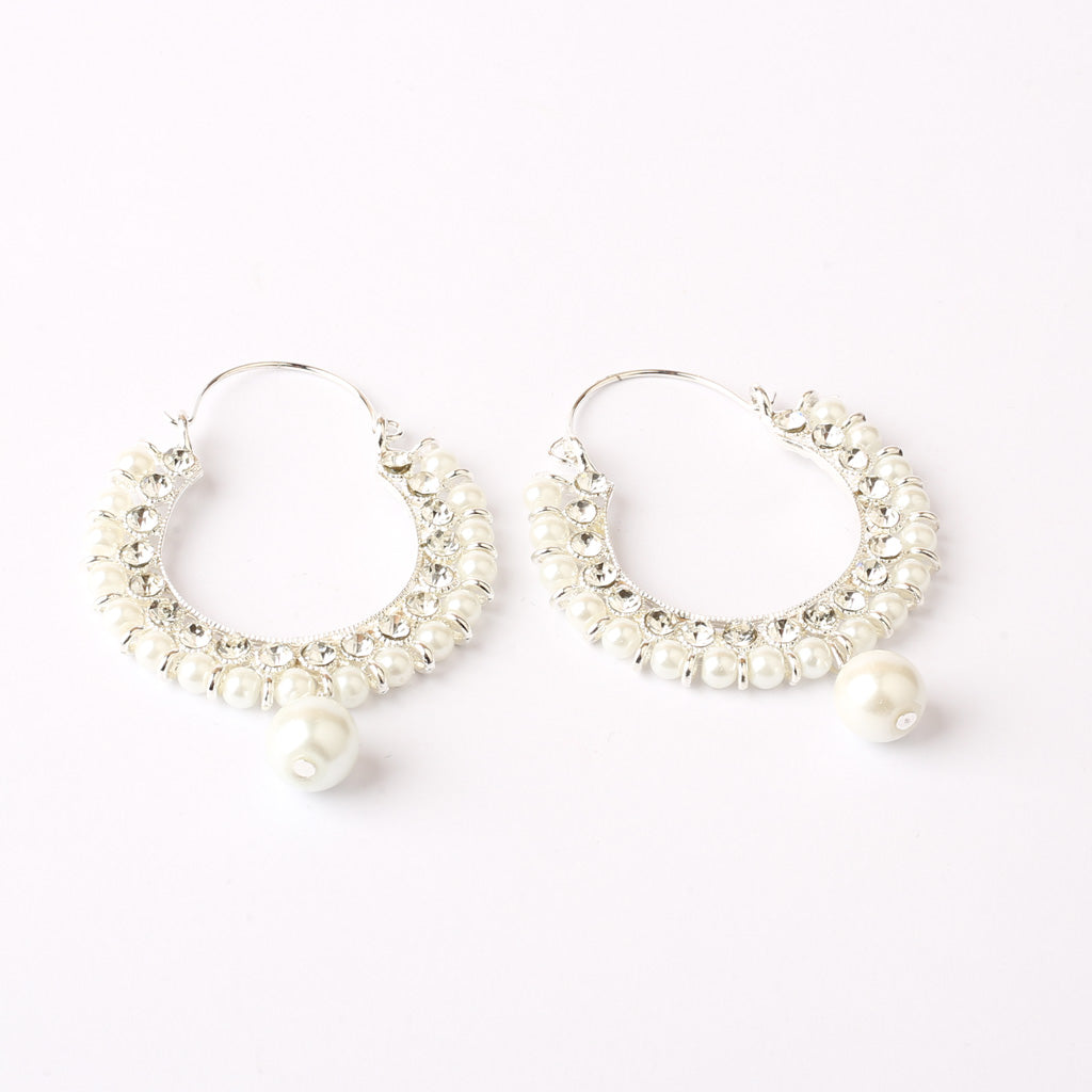 Traditional Hoop Earrings with Stones & Pearls (Silver)