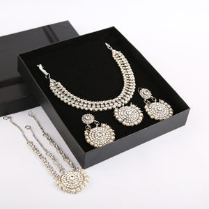 Wedlock Formal Necklace and Earrings Set with Matha Patti (Silver)