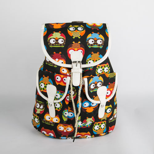 Multi colour Owl Backpack (Black)