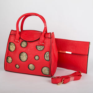 Copper Spots Bag With Clutch (Red)