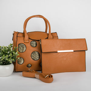 Copper Spots Bag With Clutch (Brown)