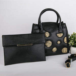 Copper Spots Bag With Clutch (Black)