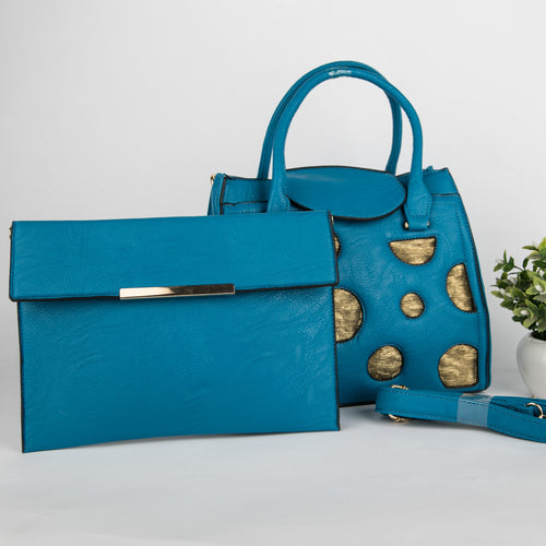 Copper Spots Bag With Clutch (Blue)