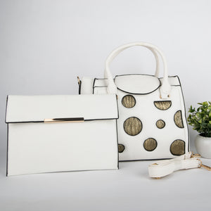 Copper Spots Bag With Clutch (White)