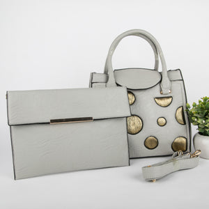 Copper Spots Bag With Clutch (Grey)