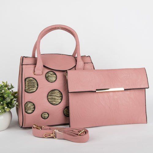 Copper Spots Bag With Clutch  (Pink)