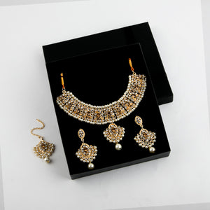 Wedlock Formal Necklace and Earrings Set with stones in White (Vol.2)