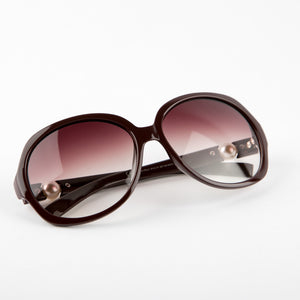 Carefree Brown Pearl Sunglasses with With Protective Case