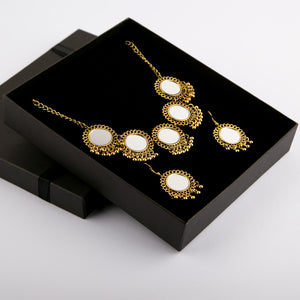 Antique Bronze Mirror Necklace & Earrings Set (Vol.2)