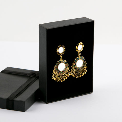 Multi Afghan Style Mirror Earrings (Bronze)
