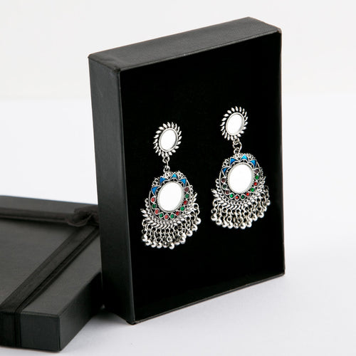 Multi Afghan Style Mirror Earrings (Silver)