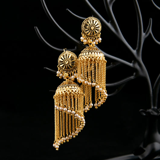 Traditional Antique Golden Jhumkay with Pearls