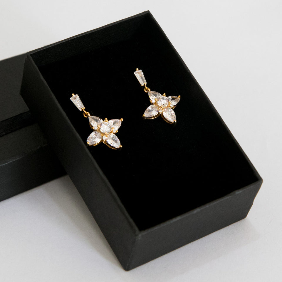 Premium Frond Zircon Earrings (Code 0121)
