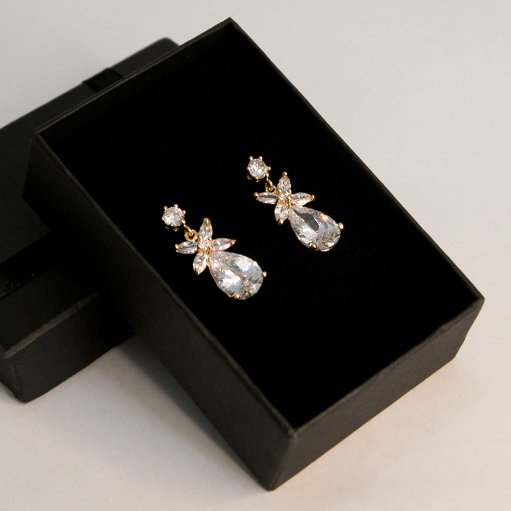 Premium Frond Zircon Earrings (Code 0122)