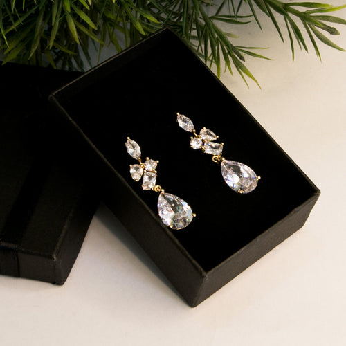 Premium Frond Zircon Earrings (Code 0123)