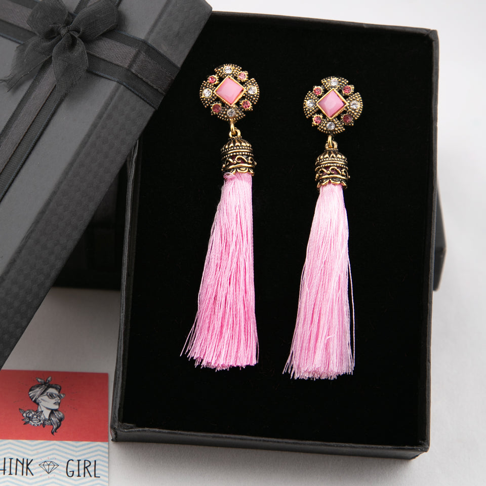 Traditional Pink Tassel Earrings