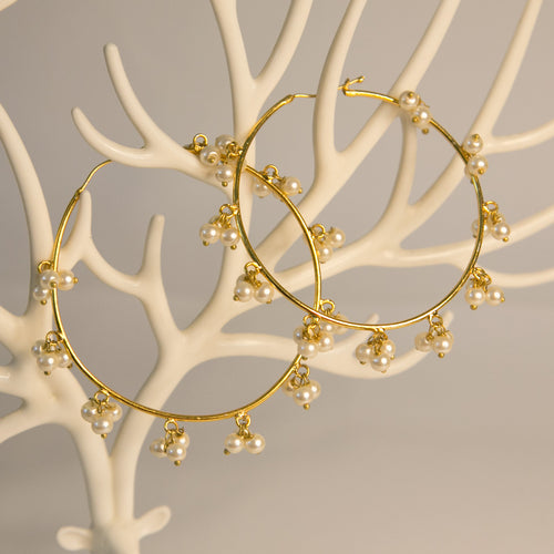 Hoop Earrings with Pearls (Code 0136)
