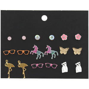 Dainty Earrings Set of 9 Pairs