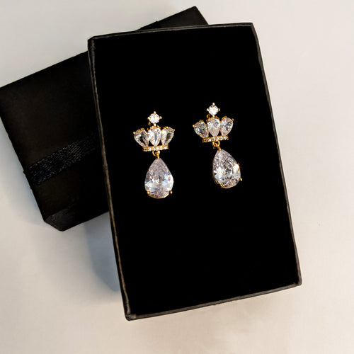 Premium Frond Zircon Earrings (Code 0125)