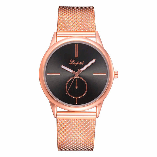 Fashion Women Watches Personality Romantic Rose Gold Stainless Steel Wrist Watch