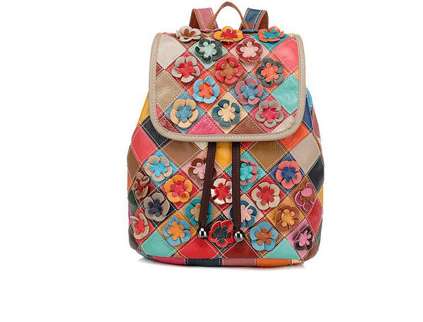 Zainetto donna vera pelle 100% multicolor floreale patchwork 👜myalleshop