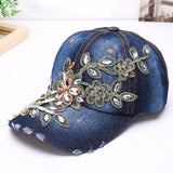 Floral diamond baseball jeans cap🧢myalleshop