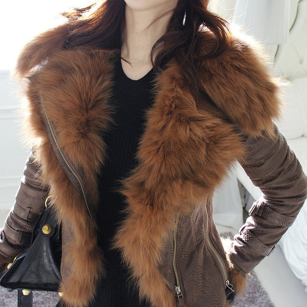 Luxury ladies winter jacket with short faux leather motorcycle hood