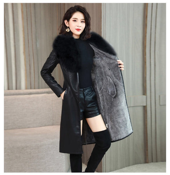 Vangull Women's Leather Jacket for Winter 2019 New Plus Velvet Warm Slim Big Fur Collar Long Leather