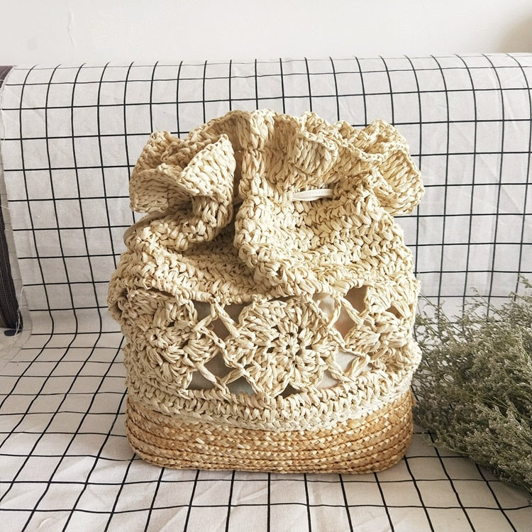 Handmade Crochet Flower Beach Bag Woven Straw Drawstring Backpacks Women 2019 Hollow Out Bucket Causal Boho Travel Shoulder Bag