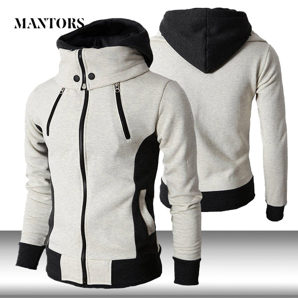 Men Zipper Hoodies Casual Fleece Autumn Winter New Solid Hooded