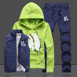 Men Tracksuit Sets Casual Hooded Vest Sweatshirt+Pants 3PC Set Male Winter