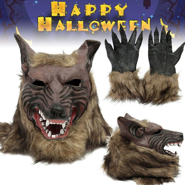 Maschera lupo con  guanti Halloween party👇myalleshop