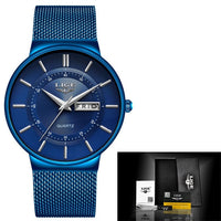 Lige mens watches  waterproof ultra thin date clock male steel strap casual quartz ⌚myalleshop