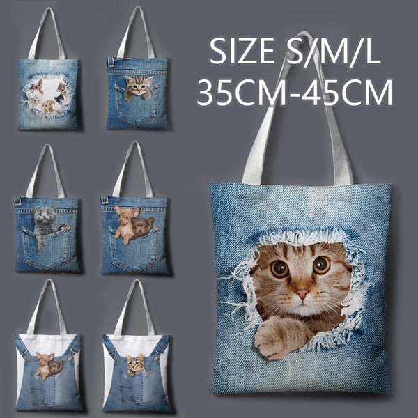 Cat jeans beach bag 🔥myalleshop