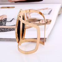 LZHLQ 2019 New Fashion Maxi Metal Bangles Women Trendy Resin Mosaic Crystal Bracelet Smooth Wide Opening Adjustable Bangle