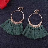High Quality Bohemian Long Tassel clip on Earrings for Women Ethnic Sector no Ear Hole Earrings Fashion Jewelry
