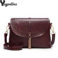 New Tassel Decor Women Messenger Bags Hollow PU Leather Shoulder Bag Female Crossbody Vintage Women Bags Purse