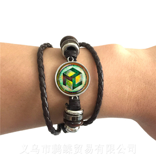 Sacred Geometry Antahkarana Symbol Bracelet Adjustable Leather Bangle For Wome Men Chakra Meditation Fashion Jewelry Gift