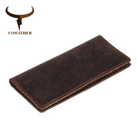 COWATHER 2019 new men wallets vintage cow crazy horse luxury leather good Manual male purse carteira masculina original brand