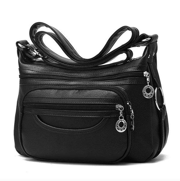 Ladies Casual Hobos Crossbody Bags Women Messenger Bags Soft washed PU Leather Shoulder Bag Female Handbag Zipper Decoration