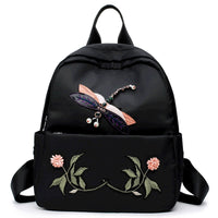 2018 New Dragonfly Rhinestones Backpack Women Black Small Zaino Flower Backpack Girls Versione coreana Oxford Mochilas mujer 2018