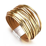 Flashbuy Alloy Gold Silver Leather Wrap Bracelets 20 Strip Multi-Row Bangles For Women  Multilayer Wide Female Jewelry