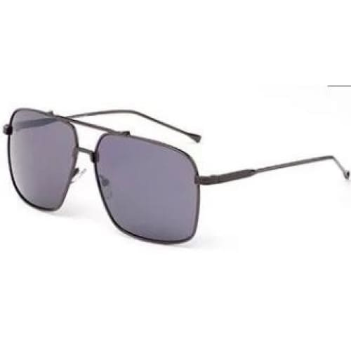 Ace Rectangular Aviator Fashion Sunglasses - Black - Gray Lens / United States - Sunglasses