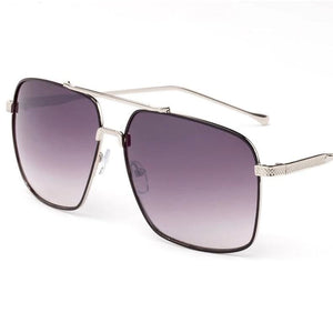 Ace Rectangular Aviator Fashion Sunglasses - Silver Black - Gray Lens / United States - Sunglasses
