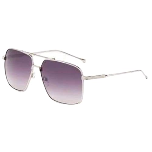 Ace Rectangular Aviator Fashion Sunglasses - Silver - Gray Lens / United States - Sunglasses