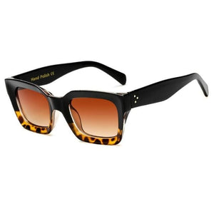 BELLA MINI Square Fashion Sunglasses - Black Leopard-Brown - Fashion Sunglasses